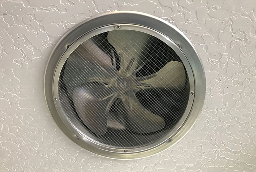 Ceiling Mounted Solar Garage Fan Interior View